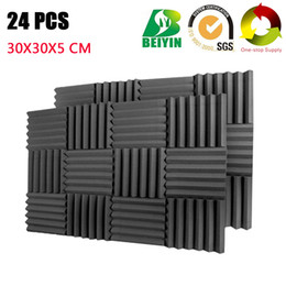 Painel de parede on-line-24 PCS Wedge Pro Áudio Acústico Tratamento de Estúdio de Gravação de Som de Som Isolamento Painéis de Parede à Prova de Som À Prova De Fogo Board 30 * 30 * 5 CM