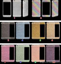Wholesale Iphone Case 4s Bling Glitter - Luxurious Full Body Bling Diamond shiny Glitter Rainbow Front Back Sides Skin Sticker cover For Iphone 6 6G 6+ Plus 4 4S 5 5G 7 7p 5S 50pcs