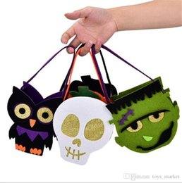 Wholesale Decoration For Candy Baskets - Halloween Pumpkin Owl Skull Zombie Bag Non Woven Handbag Treat or Trick Candy Basket for Halloween Party Decoration