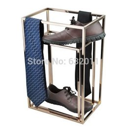 Wholesale Metal Pieces Shoes - 2 pieces a lot Titanium Gold Shoe Display Stand Metal Shoe Riser Stand Shoe Stand Sandal Riser Sandal Display