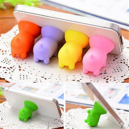 Wholesale Cell Phone Sucker - Cell Phone Mounts phone stands Holders Lovely silicone Piggy cellphone universal stand sucker Bracket for Mobile Phone zpg234