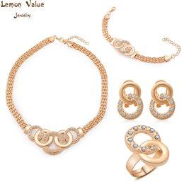 Wholesale Lemon Jade - Lemon Value Vintage Jewelry Sets Gold Color Bridal Statement Necklace Earrings Bracelet Ring Women Wedding Accessories A235