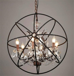 Wholesale Rustic Pendant Lighting - Country Hardware Vintage Orb Crystal Chandelier Lighting RH Rustic Iron Candle Chandeliers Light Globe LED Pendant Lamp Home Decoration