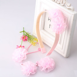 Wholesale Hair Flower Patterns - Wholesale- New Style 1set=4pcs Baby Hair Accessories Bloom Flower Hair Band Barrette Scrunchy Baby Accessories Set Pattern Girls Hair Clip
