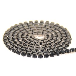 Wholesale cupping points - Jet Black Base Strass Rhinestones Chains Copper Cup Chain Glass Pointed Back Sewing Chatons Trims Appliques For Crafts Garments
