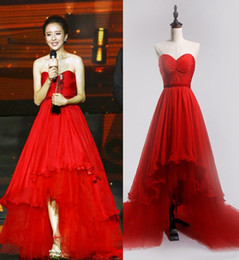 Wholesale Pink Eye Photos - Eye Catching Red Hi Lo Prom Dresses Chiffon with Soft Tulle Sweep Train Evening Dresses Lace-up Back Red Carpet Dress