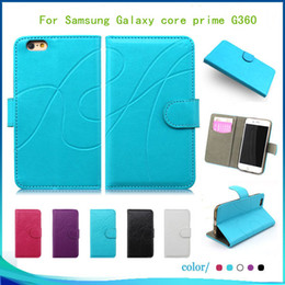 Wholesale Galaxy Grand Leather - For Samsung Galaxy core prime G360 Grand Prime G530 High quality Flip PU Leather pouch wallet case cover inside credit card Slots