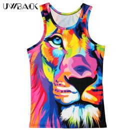 Wholesale Sexy Tiger - Wholesale- Uwback 2017 New Summer 3D Print Colored Tiger Vest Men Novelty O-neck Tank Tops CAA523