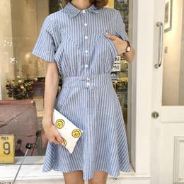 Wholesale Blue Shirt Korean Women - harajuku women dress korean summer new literary hedging summer dress 2017 kawaii pocket retro cute striped shirt dress women