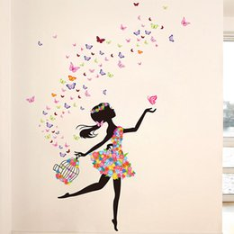 Wholesale Kids Birdcage - Flower Girls Wall Stickers Butterfly Birdcage Wall Decals for Kids Girls Living Room Bedroom Home Decorations WS544