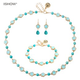 Wholesale Jade Flower Silver Necklace - Fashion Bohemian Enamel Jewelry Sets Gold-color Flower Alloy For Women Girl Beads Necklace Pendant Earrings Bracelet