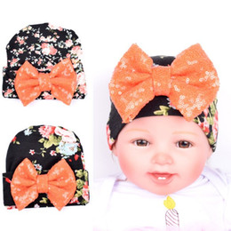 Wholesale crochet hats for newborn babies - Halloween Newborn Girl Beanie knitted Hat With Large Bowknot Toddler Baby Cotton Soft Cute Knit Kids Hat For Unisex Infant
