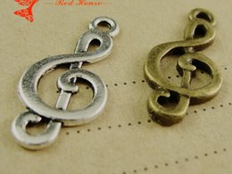 Wholesale Beads 23mm - A1984 10*23MM Antique Bronze Retro music symbol charm pendant beads retro jewelry, DIY jewelry wholesale cheap bulk musical note charm