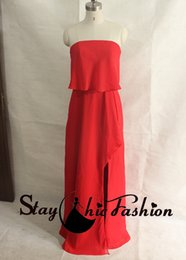 Wholesale Straight Slit Prom Dresses - Red Strapless Layered Front Slit Chiffon Maxi Prom Evening Dress for Women with Straight Neckline 2016