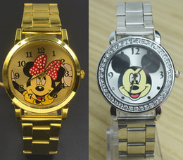 Wholesale Women Gold Metal Watch - Fashion Women Girl Mickey Minnie Mouse design dial Crystal Steel Metal band watch