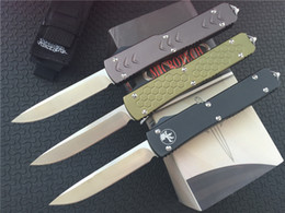 "Wholesale Steel Knife Set - Microtech Ultratech D A Drop Knife CNC D2 steel 3.4"" satin Plain 6061-T6 aluminum handle EDC Tactical knives with plain clip"