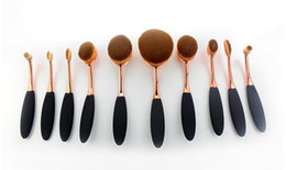 Wholesale Toothbrush Kits Wholesale - 120sets lot Beauty Toothbrush brush rose gold Shaped Foundation Power Makeup Oval Cream Puff Brushes sets Oval Brushes DHL FREE shipping
