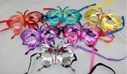 Wholesale child butterfly masquerade mask - children butterfly honeybee mask Halloween Masquerade Masks Mardi Gras Venetian Dance Party Face gold shining Gold powder Mask 6 colors
