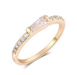 Wholesale simple ring designs for women - Simple Design 18K Yellow Glod Plated Classic Simple Design Sparkling Solitaire Cubic Zirconia Forever Wedding Ring for Bride Women HR-047