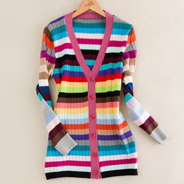 Wholesale Women Long Colorful Cardigans - Wholesale- Top Quality European American Women Long Sleeve V-neck Colorful Striped Long Cardigans Sweaters Runway Celebrity Slim Sweaters