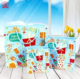Wholesale Fashion Craft Supplies - Paper Gift Bags Birthday Bags Fashion Letter Gift Bowknot Birthday Kraft Gift Bags Festival Supplies 3 Sizes To Choose
