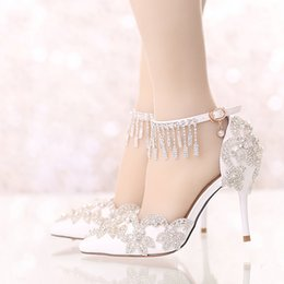 Wholesale Bride White Wedding Shoes - Summer Sandals White Pointed Toe Bridal Wedding Party Shoes Crystal High Heel Bride Dress Shoes with Rhinestone Ankle Straps