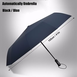 Wholesale Wholesale Outdoor Umbrella Fabric - Wholesale- Automatic Folding Umbrella 10-Rib Strong Windproof Super Wide 46 Inch Outdoor Leatheroid Handle Black Blue Rain Umbrellas