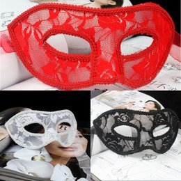 Wholesale Sexy Ladies Christmas Cloth - Women Sexy Translucent Lace Masquerade Masks Valentine's Day Halloween Half Face Masks Ladies Party Performance Show Cloth Face Masks