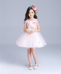 Wholesale Baby Party Dress Free Ems - Wholesale Flower Girl Dresses For Wedding Party Baby High-Grade Clothes Princess Dress Girl Birthday Formal Kids Clothing EMS DHL Free