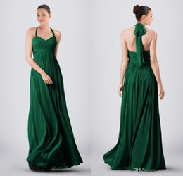 Wholesale Emerald Green Color Dresses - 2016 Emerald Green Halter Chiffon Bridesmaid Dresses A-line Pleated Backless Floor-length Country Cheap Plus Size Maid Of Honor Dresses