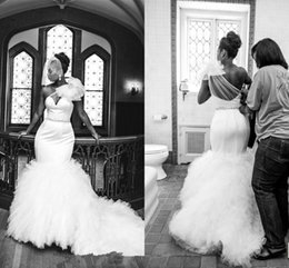Wholesale Layered One Shoulder Dress - 2016 Amazing Mermaid Wedding Dresses Sexy One Shoulder Beaded With Ruffles Organza Bridal Gowns Custom Made Layered Ruffles Backless BO2298