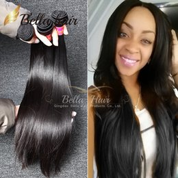Wholesale Brazilian Cuticle Hair - Brazilian Hair Extensions Virgin Human Hair Weaves Malaysian Peruvian Indian Straight Weave Cuticle Bundles Hair 3PC Bellahair 8A Natural