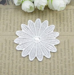 Wholesale Mesh Fabrics For Sewing - 50pcs lot Round White Lace Flower Applique Mesh Trim For Wedding Dress Garment Accessories Decoration Sew On Guipure Lace Fabric M65612