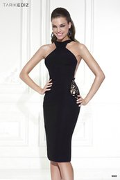Wholesale Tarik Ediz Gowns - Famous designer gowns Tarik Ediz dress 90432 black women formal dresses elegant cut mermaid short evening dress