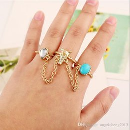 Wholesale Fox Gems - Fashion Vintage Jewelry Rings Rose Gold Plated Crystal Rhinestone Blue Gem Metal Fox Head 3 rings Beauty Women Girls Ring j190 1