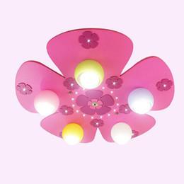 Plafón rosa online-Cute Cartoon Pink Flowers Habitación de los niños Lámparas de techo Fashion Princess Room Luces de techo Dormitorio de la niña Iluminación del techo