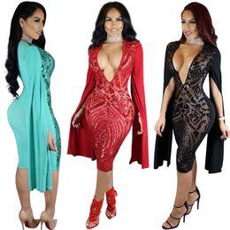 2017 Sexy Sheer Clubbing Sequins Robes Low Cut Brodé Night Out Perspective Midi Robe Moulante ? partir de fabricateur