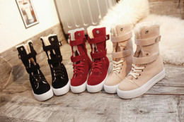 Wholesale Black Velvet Heels Women - Winter snow boots in the cylinder with thick flat boots and thick bottom and velvet cotton shoes tide female boots