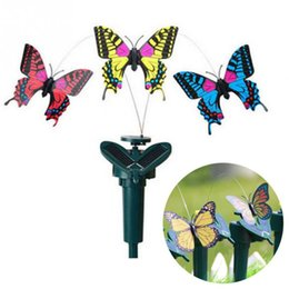 Wholesale Dancing Butterfly - New Vibration Solar Power Dancing Flying Fluttering Butterflies Hummingbird Garden Decor