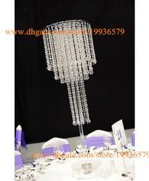 Lampadari da tavolo online-Centrotavola fiore alto chiaro a 4 piani porta matrimonio di candeliere da tavolo