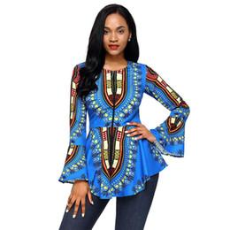 Wholesale Shirt Tribal - New women's Blue African Tribal Print Zip Front Peplum Jacket Blazer Office Wear Party Wear Club Wear T-Shirt Women TOP