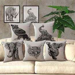 Wholesale bird pillows - Sketch Animal Elephant Rhinocer Bird Pillow Case Cushion cover Square linen cotton Pillowcase Cover Home Sofa pillowslip bedding set 240497