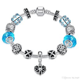 Wholesale Beautiful Glass Beads - Blue Crystal Heart Charms Bracelet & Bangle Silver Plated Chain European Glass Beads DIY Jewelry For Women Handmade Fashion Beautiful Gifts