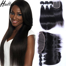Wholesale Remy Hair Closure Piece - Remy human brazilian hair bundles with frontal and closure brazilian virgin hair brazilian straight hai for black women