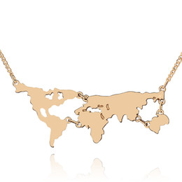 Wholesale Teacher Gifts Free Shipping - Pendant Necklaces 18K Gold plated World Map Pattern Link Chain Charm Necklace Personality Teacher Student Gifts Jewelry free shipping