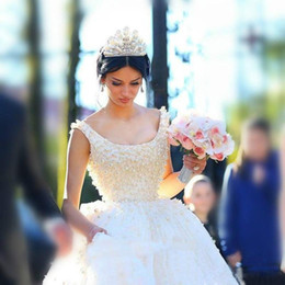 Wholesale Royal Castle - Luxury Pearls Royal Wedding Dresses Ball Gown Scooped V back Bow Full Lace Splendid Bridal Gowns 2016 Robe De Mariage