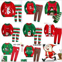 Wholesale Girls Deer Tshirt - Kids Babys Pajamas Long Sleeve Tshirt Pant suit Winter Christmas Deer Santa Printing Sleepwear Nightclothes For boys girls Kids clothing