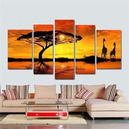 2019 pintura a óleo abstrata paisagem africana Pintados à mão arte moderna da parede africano sol grande pastagem girafa casa decoração abstrata paisagem óleo lona 5pcs / se pintura a óleo abstrata paisagem africana barato
