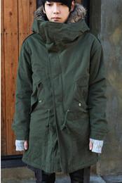 Wholesale South Korea Men S Fashion - Fall-Long Warm Fashion South Korea Style Cotton-padded Jacket Coat Big Hooded Hat