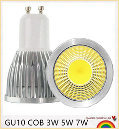 Wholesale E27 Cob Led 5w - Super Bright GU10 LED Bulb 3W 5W 7W LED lamp light GU10 COB Dimmable GU 10 led Spotlight Warm Cold White Free shipping